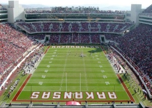 The natural grass turf at Razorback Stadium will be replaced this summer