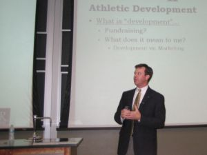 Dan Cloran spoke at the Follett's Sports Business Forum at Ohio University on October 2.